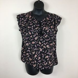 Old Navy Print Tie Front Blouse Size Large